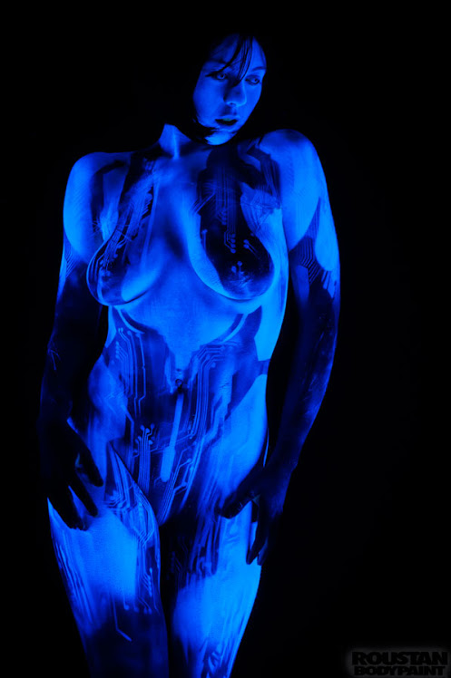 Cosplay Cortana Body Paint