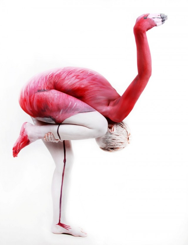 Flamingo bodypaint
