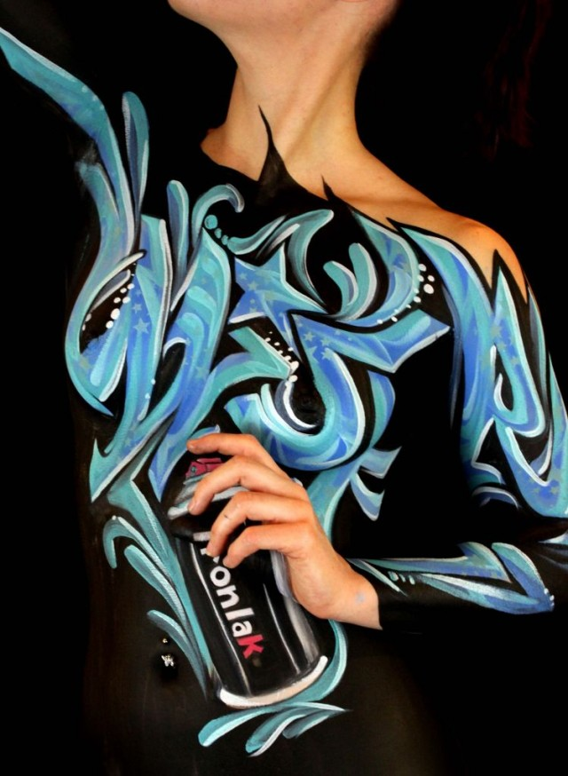 bodypaint graffiti illusion WISER Ironlak spray paint